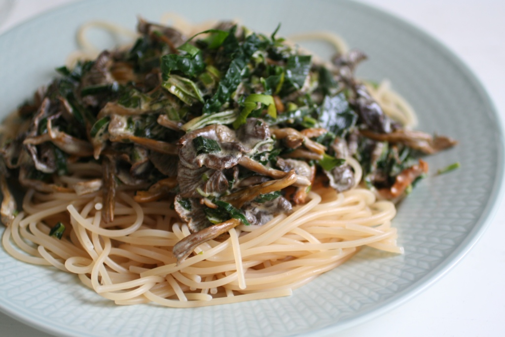 Easy pasta with winter chanterelles
