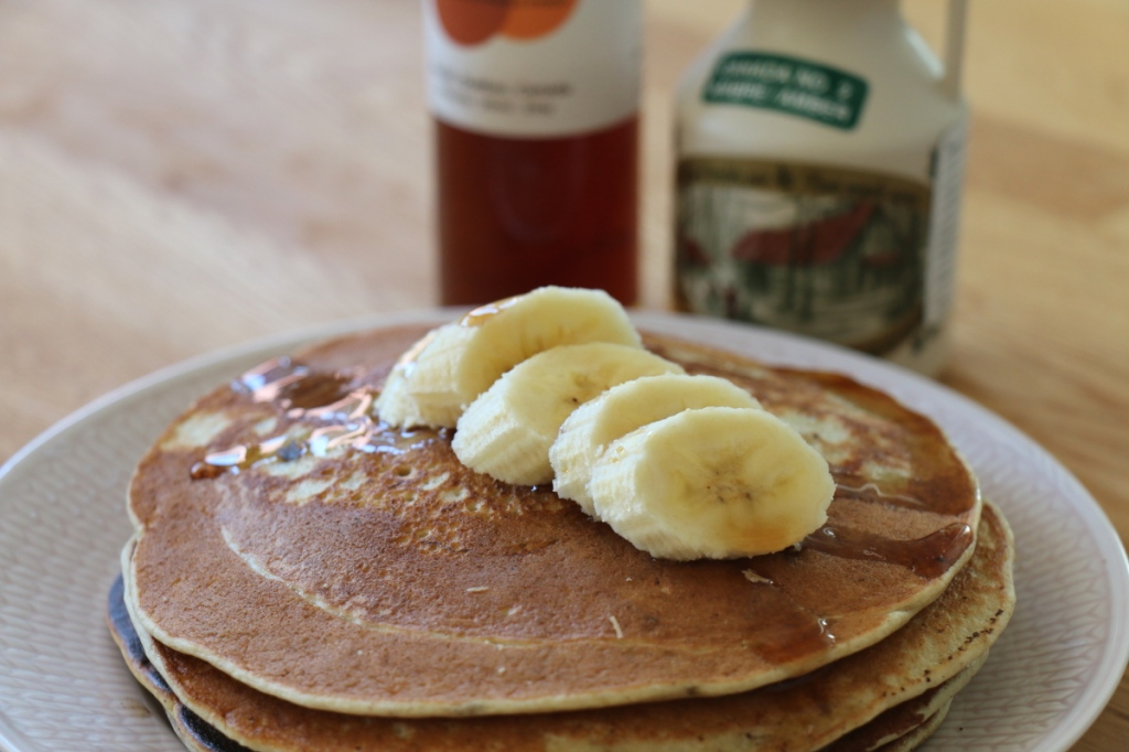 banana pancakes, gluten and lactose free